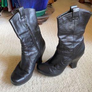 BORN CROWN mid calf black leather platform boots 8